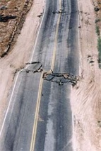 Shearing of a highway as the result of an earthquake
